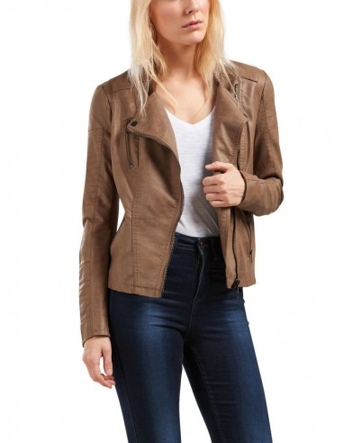 veste perfecto femme Only marron Onlava faux leather biker otw noos