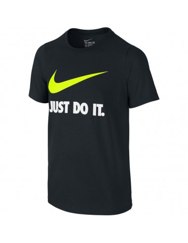 "tee-shirt enfant Nike noir Boys' nike ""just do it."" swoosh training t-shirt 709952-010"