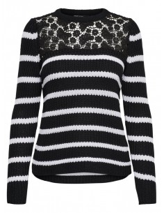 pull femme Only noir Onlfilina l/s lace pullover knt