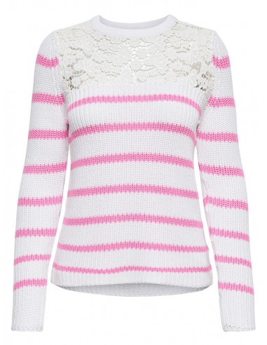 pull femme Only rose Onlfilina l/s lace pullover knt