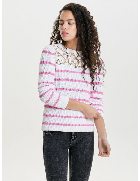 pullover Only rose Onlfilina l/s lace pullover knt