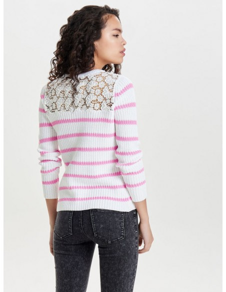 pullover femme Only rose Onlfilina l/s lace pullover knt