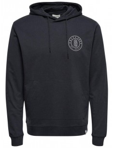 sweat capuche homme Only&Sons noir Onsfana logo sweat hood
