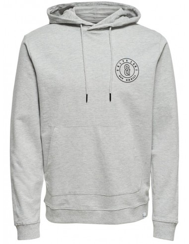 sweat capuche homme Only&Sons gris Onsfana logo sweat hood