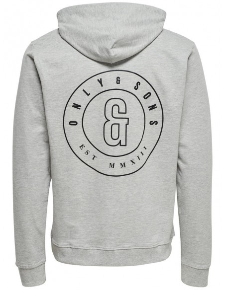 sweat homme Only&Sons gris Onsfana logo sweat hood