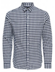 chemise manches longues homme Only&Sons blanc Onsr nasir ls checked shirt