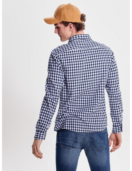 chemise carreaux homme Only&Sons blanc Onsr nasir ls checked shirt