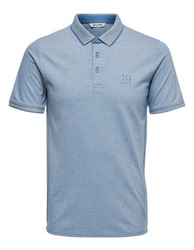 polo homme Only&Sons bleu clair Onsstan ss fitted polo tee noos
