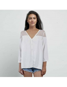 Top femme Volcom blanc Sea y'around ls