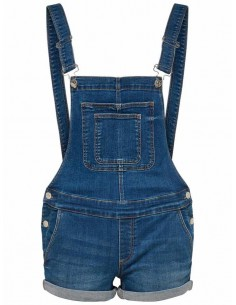 short salopette femme Only jean Onlkim witty dark dnm overall shorts