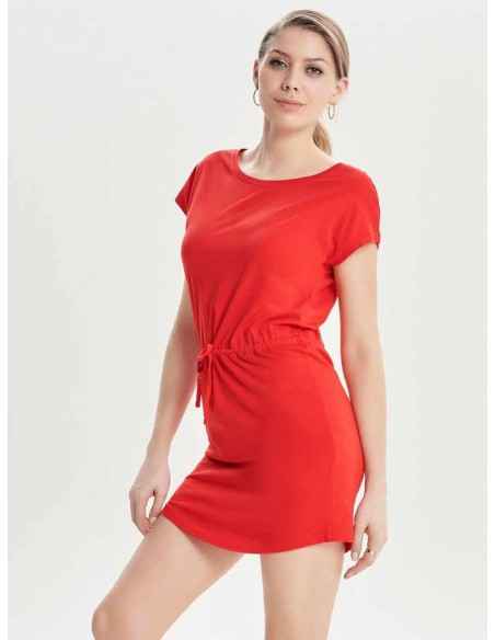 Robe courte femme Only rouge Onlmay s/s dress noos