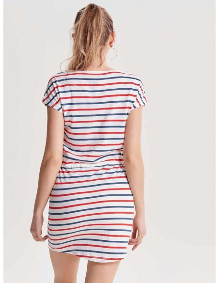 Robe courte Only blanc/rouge Onlmay s/s dress noos