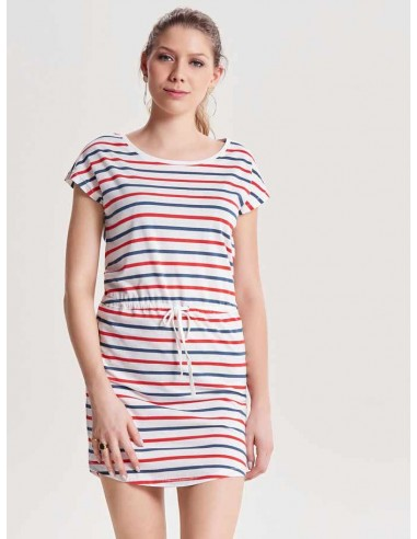 Robe courte femme Only blanc/rouge Onlmay s/s dress noos