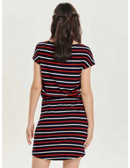 Robe courte Only bleu/rouge Onlmay s/s dress noos