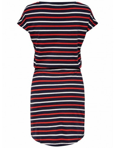 Robe Only bleu/rouge Onlmay s/s dress noos