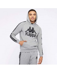 sweat capuche homme kappa gris Hurtado 222 banda sweat