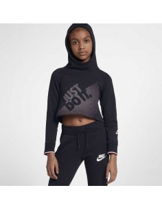 sweat fille Nike noir Nike sportswear crop gx hooded AH8285-011