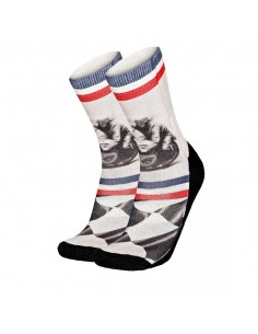 chaussette homme Pull-in blanc Socks long moto
