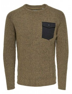 pull homme Only&sons marron Onsking 5 mixed quality crew neck knit