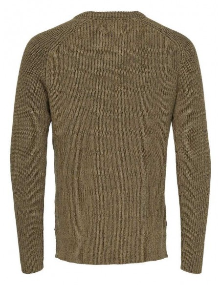 pullover  homme Only&sons marron Onsking 5  mixed quality crew neck knit