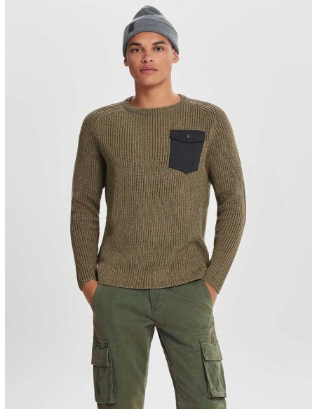 pull Only&sons marron Onsking 5  mixed quality crew neck knit