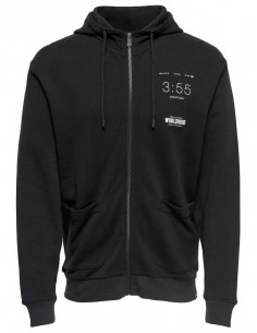 sweat zip homme Only&sons noir Onswilder zip hood sweat