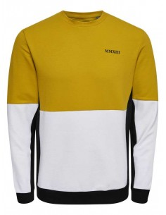sweat homme Only&sons jaune Onsjagger crew neck