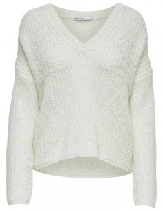 pull femme Only blanc Onlbluebell l/s v-neck pullover wool knt