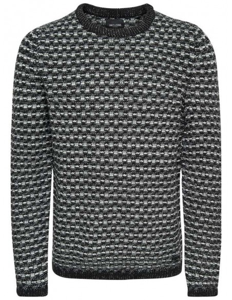 pull maille homme Only&sons gris Onsdoc 3 crew neck knit noos