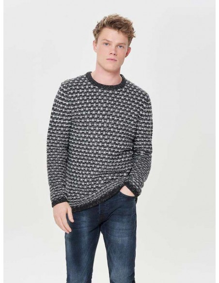 pull maille Only&sons gris Onsdoc 3 crew neck knit noos