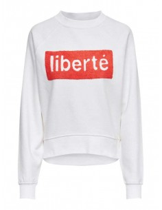 sweat femme only blanc Onllotta l/s o-neck bf swt