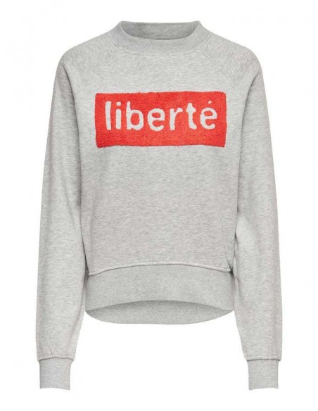 sweat femme only gris Onllotta l/s o-neck bf swt