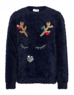 PULL NOEL FILLE NAME IT BLEU Nkframdeer ls knit