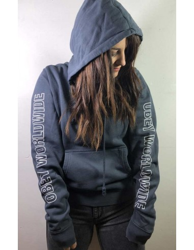 sweat capuche femme obey gris Obey worldwide outline