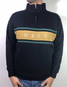 sweat homme obey noir Gaze mock neck zip