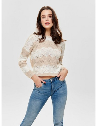 pull maille Only beige Onlkaro l/s stripe pullover cc knt