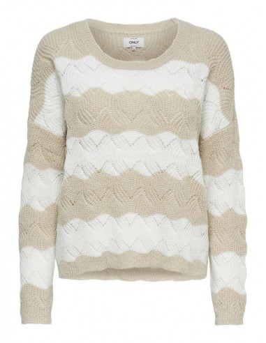 pull maille femme Only beige Onlkaro l/s stripe pullover cc knt