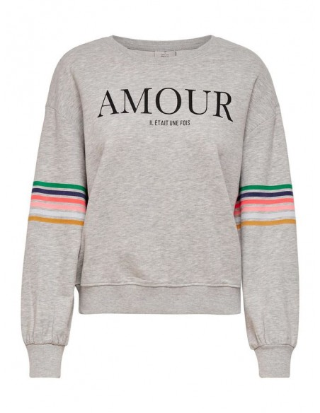 sweat col rond femme only gris Onldaisy ls o-neck swt
