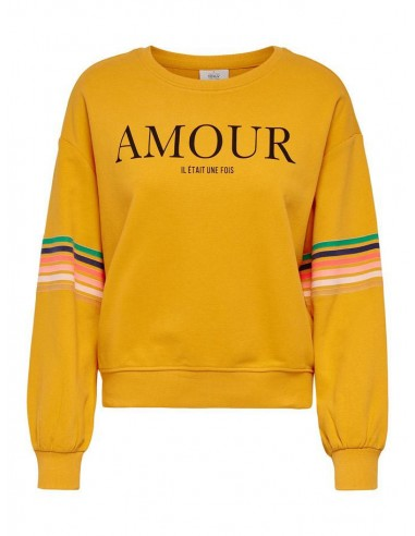 sweat col rond femme only jaune Onldaisy ls o-neck swt