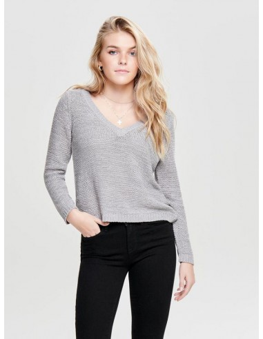 pull maille only gris Onlgeena l/s v-neck pullover knt